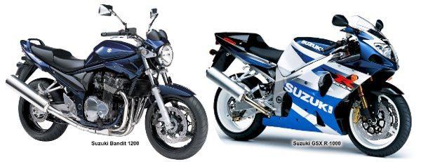 Bandit 1200 e GSX 1000R: cilindrada maior e potência muito menor