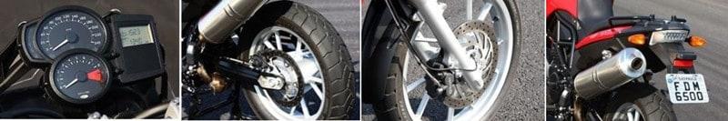 Detalhes da BMW F 650 GS: painel bem completo, freio à disco e lanterna em LED