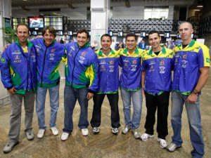 Foto: Descontração da equipe, momentos antes do embarque em Guarulhos