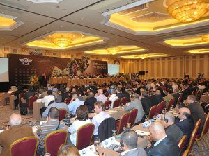 Foto: Os presidentes das Federações durante a Assembléia, em Macau, na China