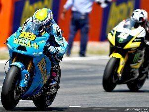 Foto: MotoGP.com - O estreante Bautista (#19) com Marco Simoncelli logo atrás