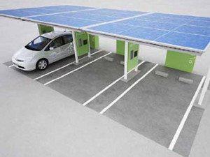 Postos de recarga com painéis solares
