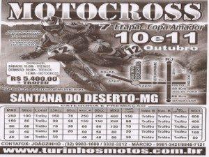 10 e 11 de outubro – 7ª Etapa da Copa Amador de Motocross em Santana do Deserto – MG