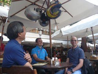 Harada, Peruche e André em Campos do Jordão: momento de relax após a primeira parte do passeio