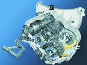 O câmbio robusto de seis marchas da 1200 GS é construido com engrenagens helicoidais: menos ruído