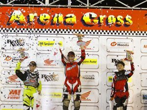 Foto: Pódio da categoria 65cc no Arena Cross