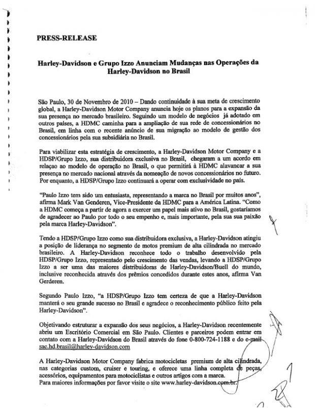 Press Release conjunto Harley Davidson e Grupo Izzo