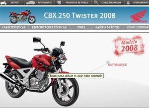Foto: Site da Honda com a Twister 2008