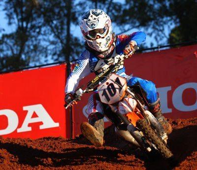 Renato Paz, piloto da categoria 65cc na Superliga Brasil de Motocross