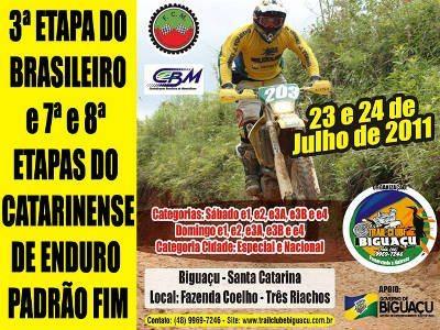 Biguaçu/SC recebe a próxima etapa do Brasileiro de Enduro FIM