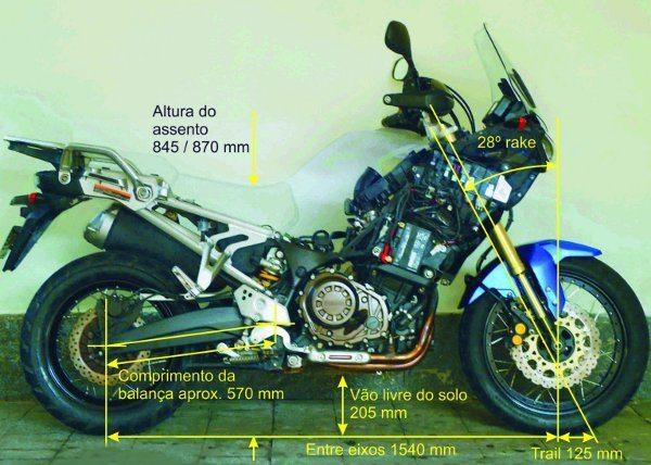 A moto é grande, assim como seus números - largo entre eixos, Rake bastante aberto e trail longo para grande estabilidade