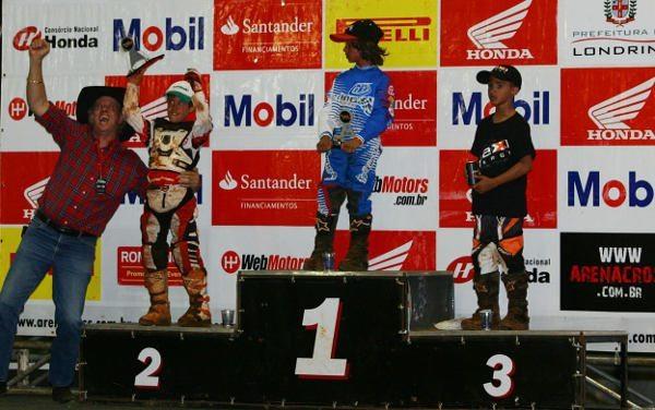 Pódio da categoria 50cc no Arena Cross