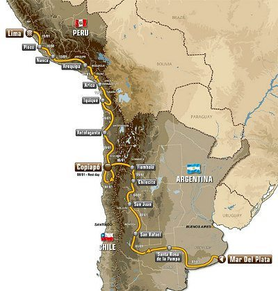 O mapa do Rally Dakar: para a maioria o maior desafio é completar a prova