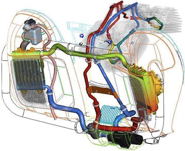 Motor tradicionalmente arrefecido a ar, hoje recebe sistema adicional para arrefecimento a líquido para obter níveis aceitáveis nas novas normas de emissões de poluentes