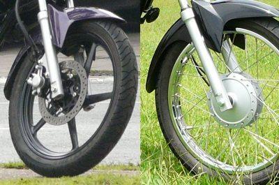 Freios e rodas: em liga leve nas ED e raiadas e a tambor nas K e E