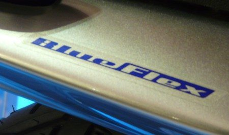 Só o adesivo aplicado na rabeta identifica a moto BlueFlex