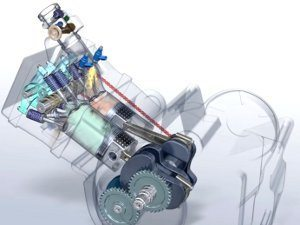 O motor é bastante inclinado à frente, o que ajuda na distribuição de peso