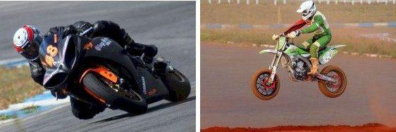 Edson Morales na motovelocidade e Kleber Justino na supermoto