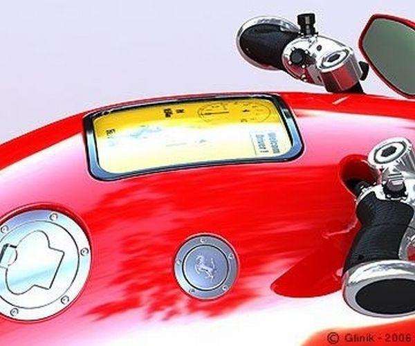 Detalhe do painel em LCD no tanque da moto