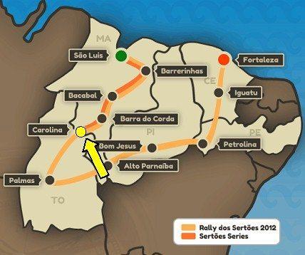 A etapa dessa quinta-feira será de Carolina (MA) até Palmas (TO)