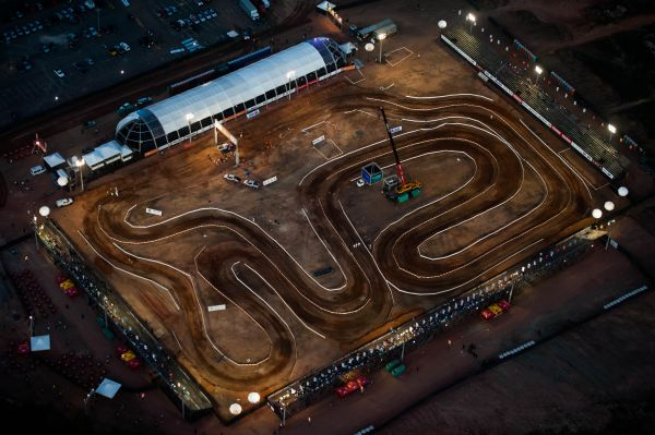 Vista aérea do palco de disputa do Super Prime ontem à noite em São Luiz (MA)