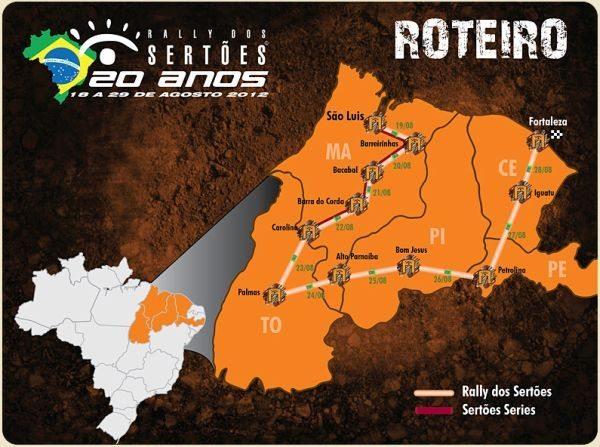 Roteiro de onde passará o Sertões em 2012