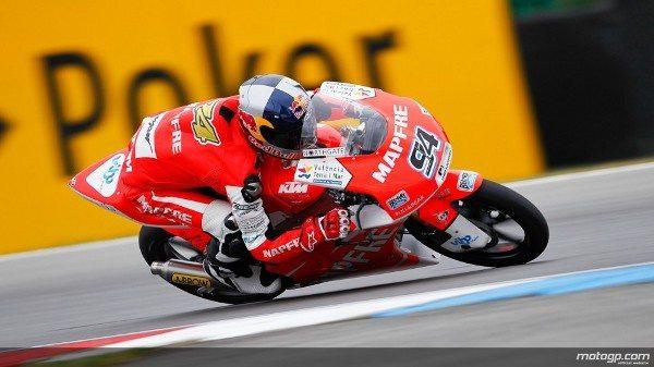 Numa emocionante corrida de Moto3™ no bwin Grande Prémio da República Checa, em Brno, foi Jonas Folger, da Mapfre Aspat Team Moto3, quem levou a melhor enquanto a pista ia secando para vencer à frente de Luis Salom e Sandro Cortese