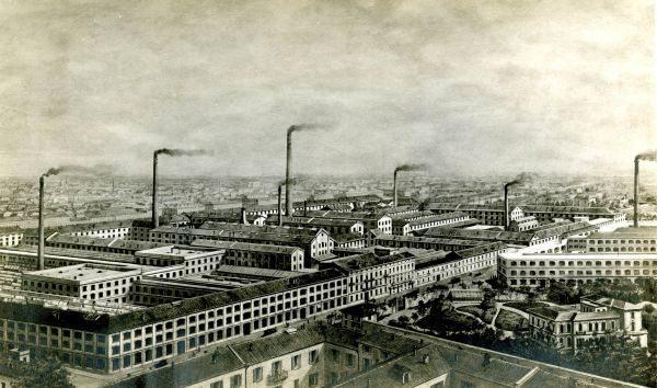 Fábrica da Pirelli em Milão, em meados da primeira metade do século passado