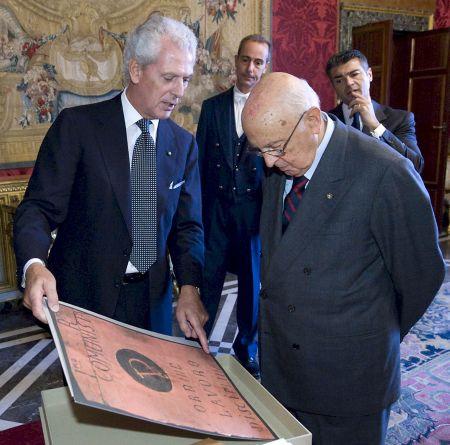 Marco Tronchetti Provera, CEO e Chairman da Pirelli é recebido pelo Presidente da República Italiana Giorgio Napolitano