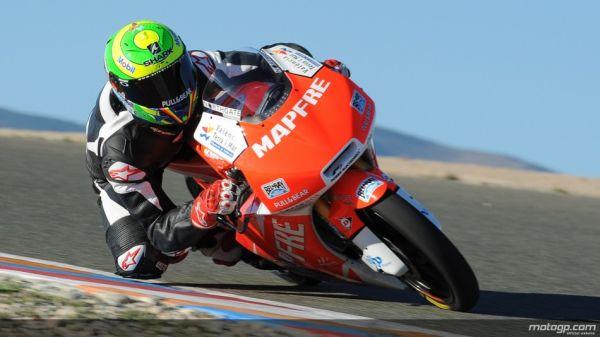 Eric Granado, piloto da Mapfre Aspar Team Moto3, durante testes no circuito de Almeria