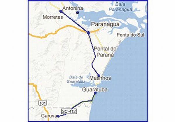 Caminho alternativo para pegar a BR-101 a partir de Morretes; inclui a travessia da Baia de Guaratuba a bordo de um ferry-boat
