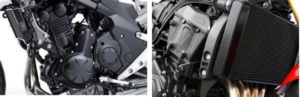 Motor 649 cc dois cilindros da Kawasaki à esquerda tem mais torque em baixa e 599,3 cc quatro cilindros da Honda à direita, com maior potência em alta rotação. Os dois tem duplo comando no cabeçote (DOHC)