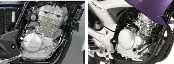 Motor da Yamaha tem menos torque e maior rotação máxima; o motor da Honda (esq) tem mais torque em baixa, mais potência e rotação máxima menor