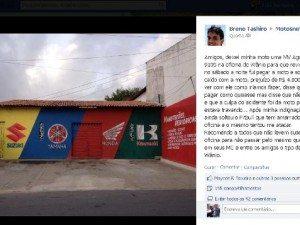 Reprodução do post no Facebook  onde o Dr. Breno faz a denúncia.