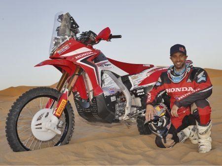 O português Helder Rodrigues com sua Honda CRF 450 Rally