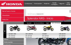 Preços da motos em destaque, em site argentino