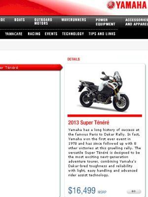 Site canadense da Yamaha