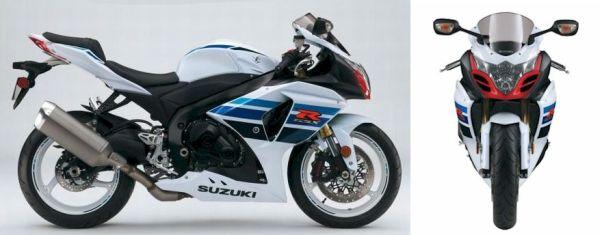 Vista lateral e frontal da Suzuki GSX-R1000Z