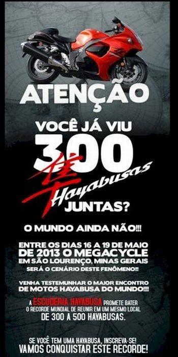 Donos de Hayabusas vão tentar reunir entre 300 e 500 motos no Megacycle