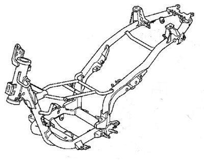 O chassi em tubos de aço tem reforço central para minimizar as flexões
