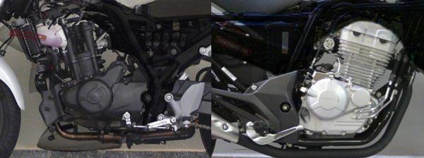 Motor da Dafra Next 250 (esq) arrefecido a líquido e a Honda CB300 (dir) tem sistema de arrefecimento a ar com radiador de óleo