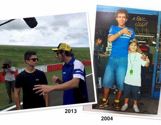 Dois encontros de Eric Granado com Valentino Rossi: em 2013 ouvindo os conselhos do mestre e em 2004, com apenas 9 anos, tietando o ídolo