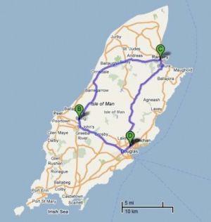 Mapa da Ilha de Man, com o traçado da corrida