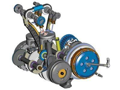O motor tem dois eixos de balanceamento dinâmico que praticamente eliminam as vibrações