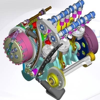 O motor tem três cilindros e duplo comando no cabeçote e eixo balanceador
