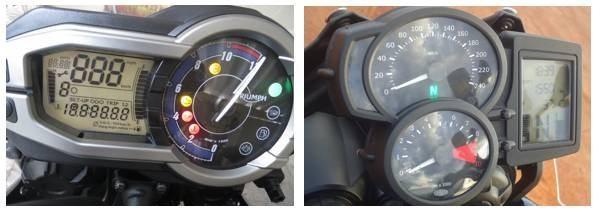 Mainel completo com computador de bordo para ajudar nas viagens. Dois relógios analógicos na BMW e um na Triumph que mostra a velocidade no visor de LCD