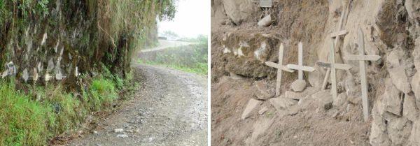 Centenas de cruzes ao longo da estrada alertam aos viajantes dos perigos de La Carretera de La Muerte - by Gilson Miranda