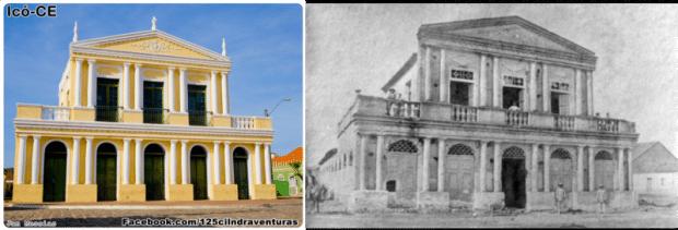 Teatro Ribeira dos Icós, construído pelo médico francês Théberge em 1860, segundo mais antigo do Brasil; à direita imagem antes da restauração