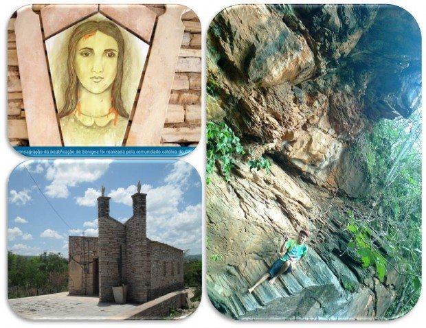 Benigna, a Serva de Deus, que morreu defendendo sua pureza está em processo de canonização (acima esq.); Capela da Serva de Deus, região da Chapada próxima a cachoeira do sítio Latão (dir)