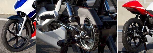 Detalhes da suspensão e freio dianteiro a disco, sistema de tração e suspensão traseira com duplo amortecedor e freio a tambor
